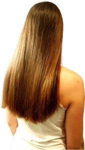 Frau lange glatte Haare