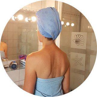 Turban nasse Haare, stark saugendes Handtuch