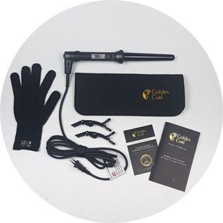 """Verpackungsinhalt """"Golden Curl Set"""": Lockenstab konisch, 2 Haarklammern, 1  Tasche für Lockenstab, 1 Hitzehandschuh-Lockenstab, Gebrauchsanleitung"""