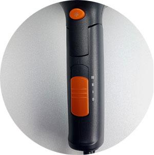 AEG Foen HT 5650 Schalter: kombinierter Gebläse- und Geschwindigkeitschalter (I, II, III), Kaltlufttaste