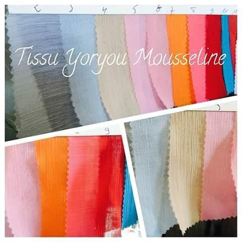 tissu mousseline plissé