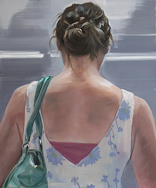 """Waiting for The L Train-flower dress, oil, 20""""x24"""",2013"""