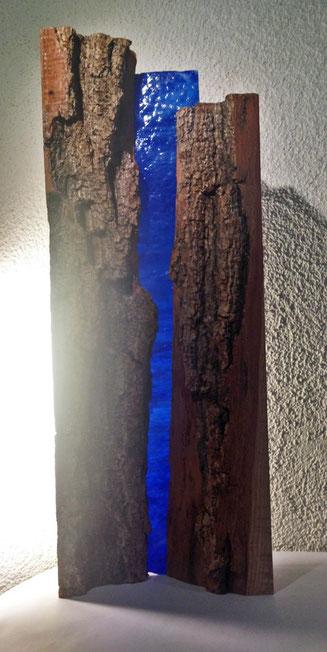 Lichtobjekt 2018, Eschenholz, Glas 21x55x10cm