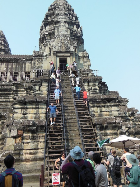 2015 The Stairway to the Third Level of the Temple of Angkor Wat is Quite Steep
