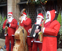 A Santa Band performing in the Street