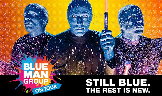 Blue Man Group show LOGO featuring the faces of men in blue makeup