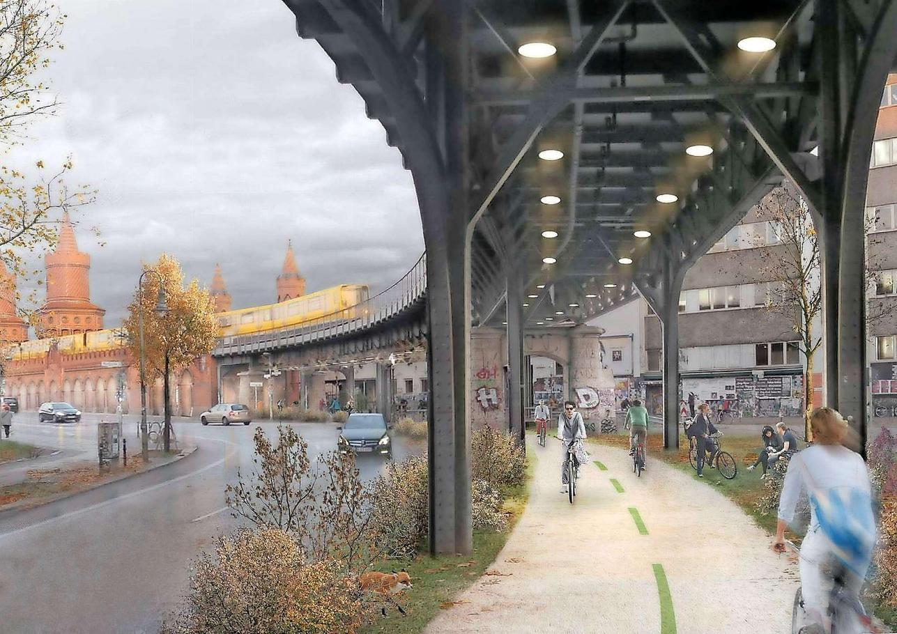 Fast 9 Kilometer lang soll die Radbahn (hier und in den folgenden Bildern der Entwurf von 2015) vom Bahnhof Zoo bis zur Warschauer Brücke führen und somit Charlottenburg, Schöneberg, Kreuzberg und Friedrichshain miteinander verbinden.
