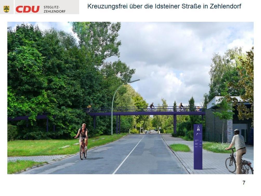 An mehreren Stellen müssen Brücken errichtet werden, damit Radfahrer die Strecke kreuzungsfrei passieren können. - Simulation: CDU Steglitz-Zehlendorf/Staubach + Kuckertz Architekten