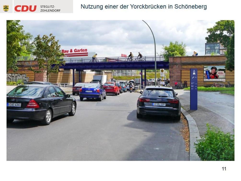 Auch eine der Yorckbrücken kommt für eine Nutzung in Betracht. - Simulation: CDU Steglitz-Zehlendorf/Staubach + Kuckertz Architekten