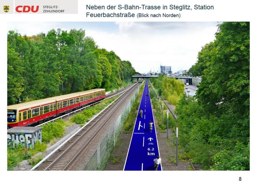 Die CDU in Steglitz-Zehlendorf möchte auf der stillgelegten Stammbahn von Zehlendorf zum Gleisdreieck Berlins erste Fahrrad-Schnellstraße bauen - und so könnte sie aussehen. - Simulation: CDU Steglitz-Zehlendorf/Staubach + Kuckertz Architekten