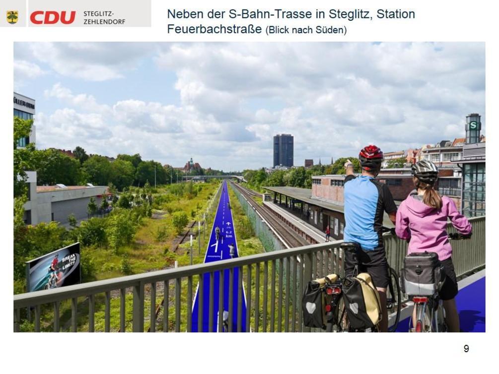 Ohne Unterbrechung sollen Radfahrer in fünf Jahren vom Südwesten Berlins bis zum Potsdamer Platz fahren können, ohne ständig durch den Kraftverkehr behindert zu werden. - Simulation: CDU Steglitz-Zehlendorf/Staubach + Kuckertz Architekten