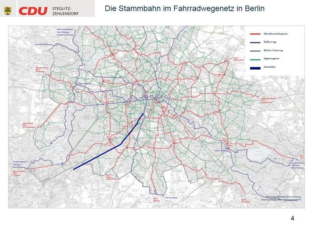 Die heruntergekommene und überwucherte Stammbahnstrecke müsste auf knapp zwölf Kilometern für einen hohen zweistelligen Millionenbetrag erschlossen werden. - Karte: CDU Steglitz-Zehlendorf/Staubach + Kuckertz Architekten