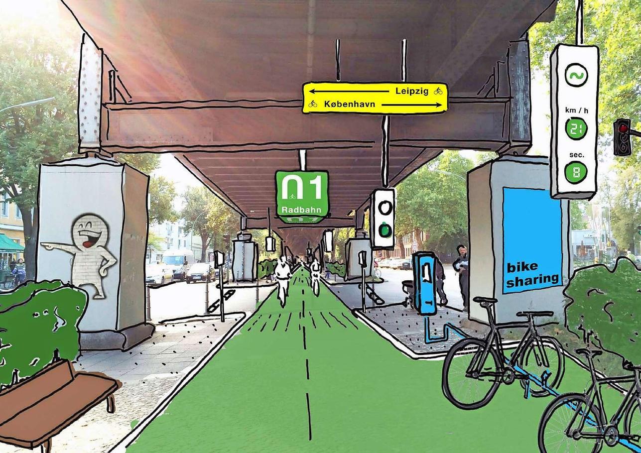 So könnte die Trasse unter der Hochbahn aussehen.