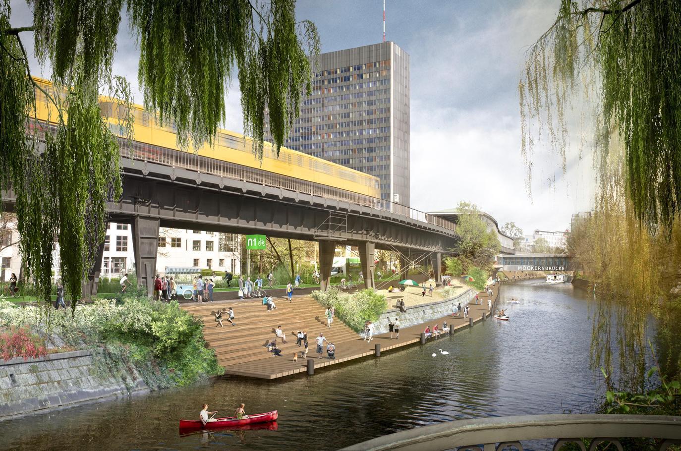 """""""Möckernstrand"""". Eine Holzterrasse mit Steg am Landwehrkanal. Das Projekt """"Radbahn"""" möchte Berlins ersten weitgehend überdachten Radweg realisieren."""
