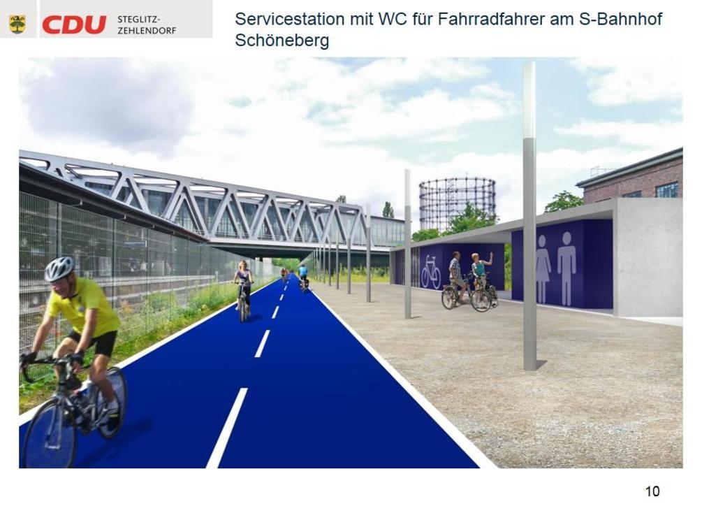 Das Konzept sieht vor, an Bahnhöfen entlang der Strecke Duschen und Umkleidekabinen einzurichten. - Simulation: CDU Steglitz-Zehlendorf/Staubach + Kuckertz Architekten