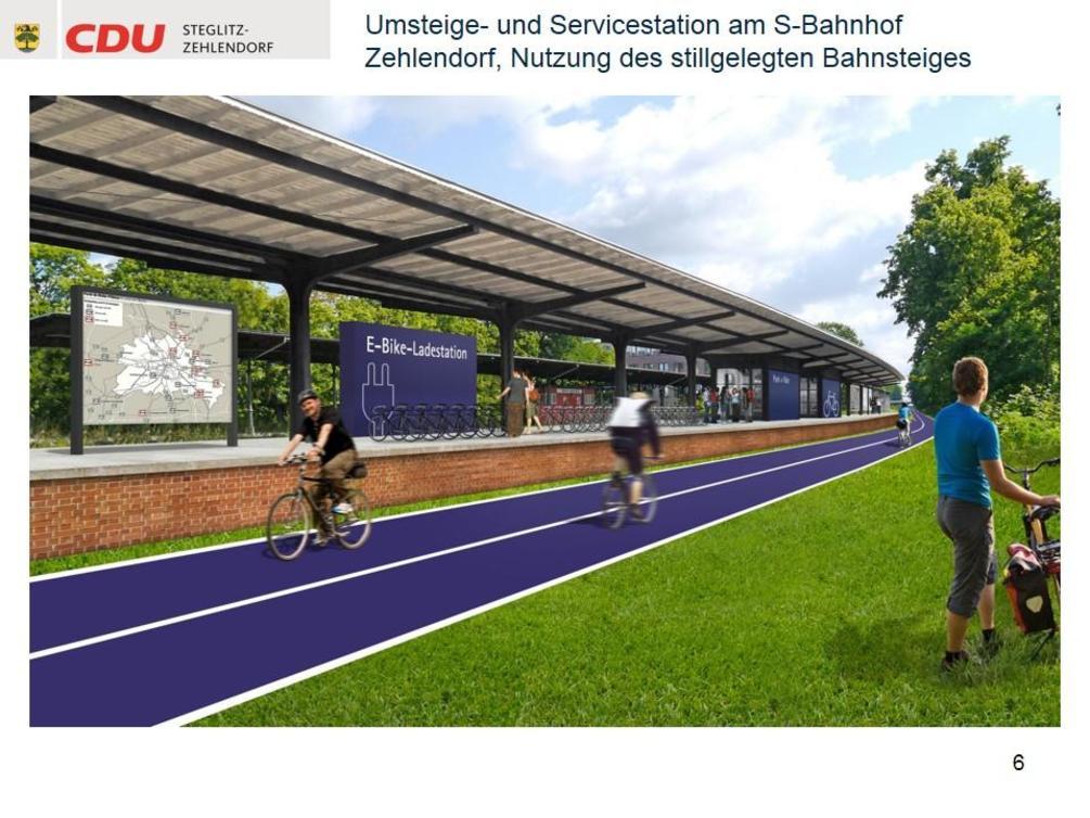Auf der Strecke sollen auch Ladestationen für E-Bikes entstehen. - Simulation: CDU Steglitz-Zehlendorf/Staubach + Kuckertz Architekten