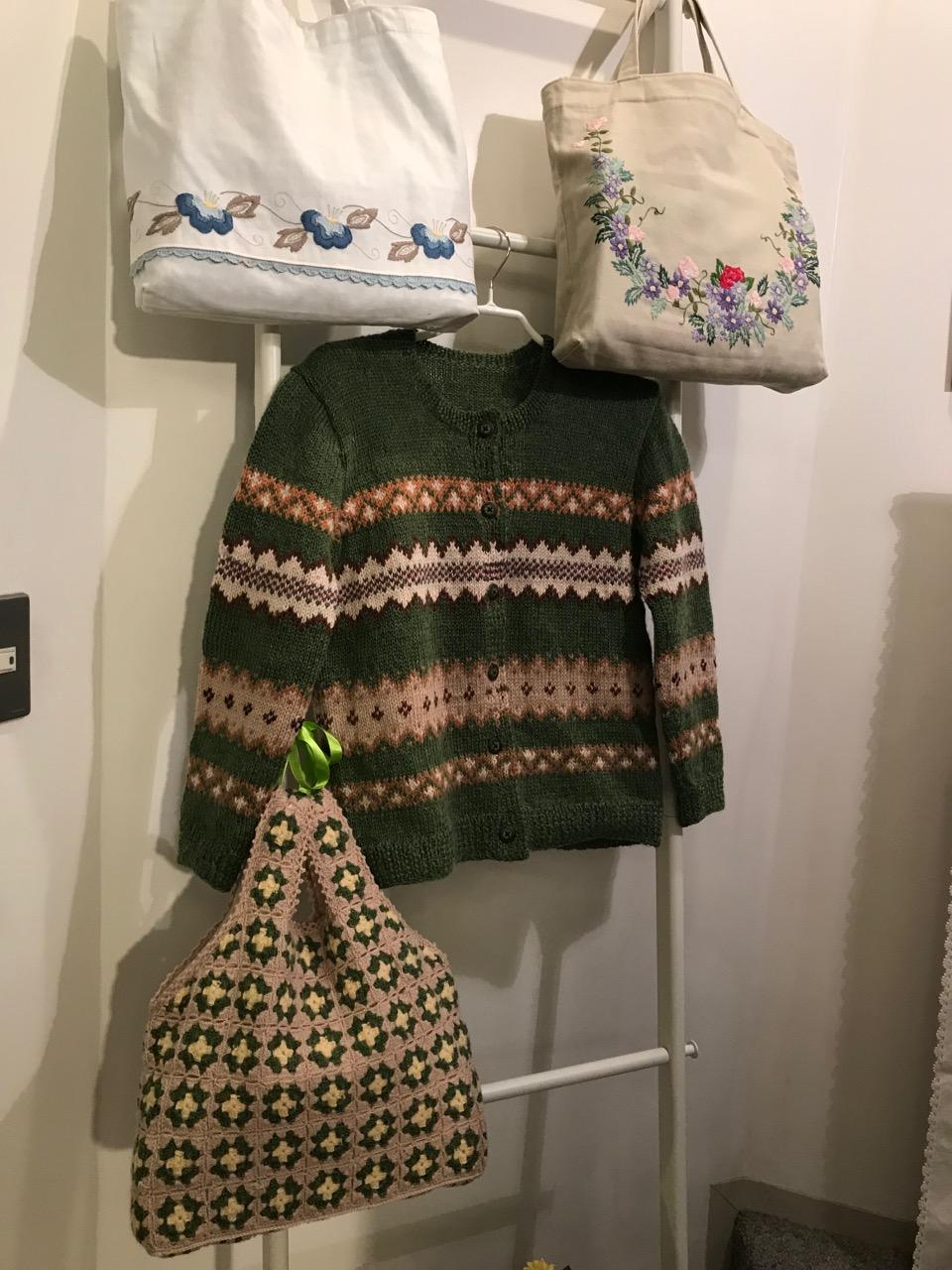 手編みセータ・バッグ・刺繍レッスンバッグ