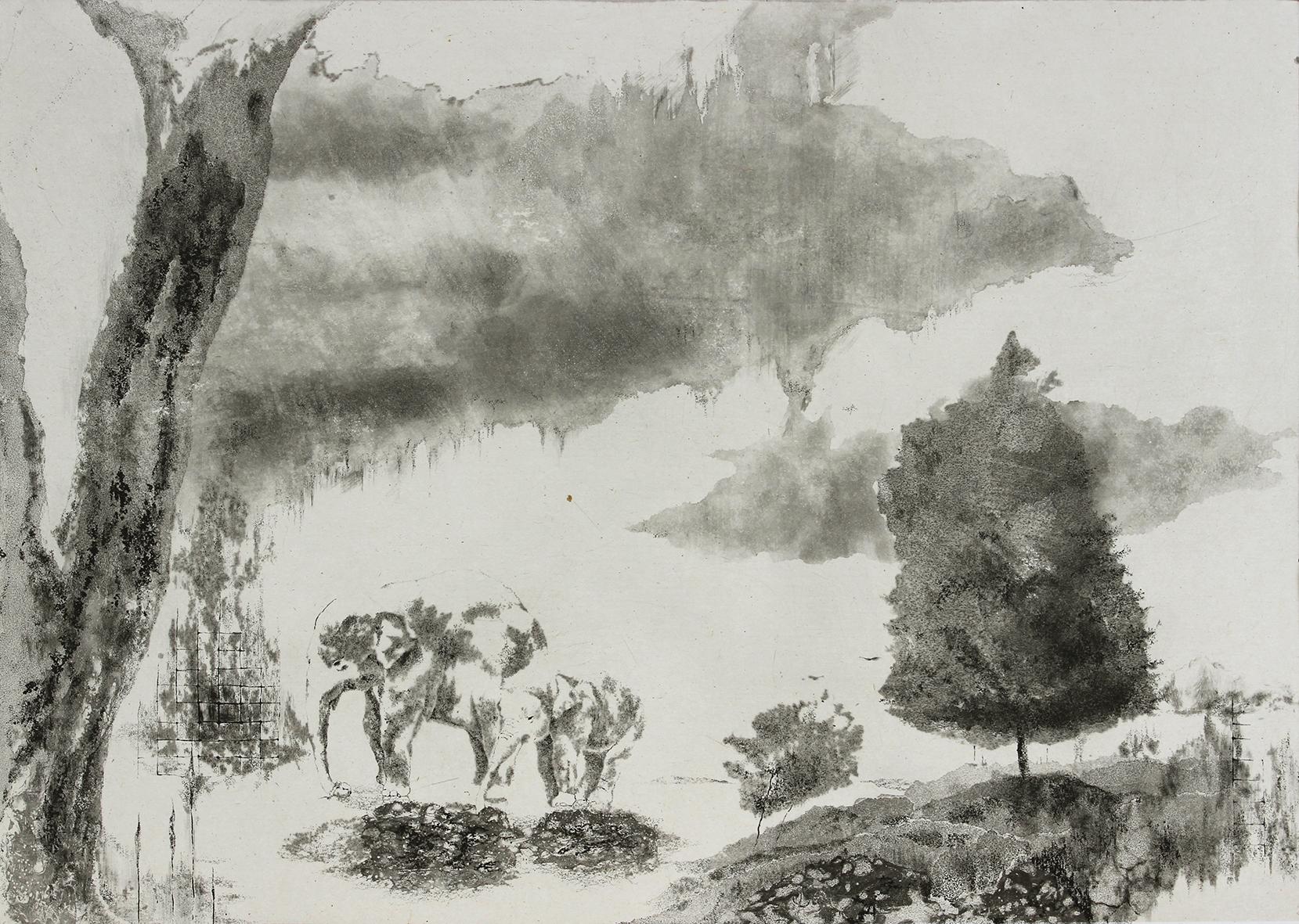 「兄弟の樹と平和の丘」2018年、ソフトグランド・エッチング・アクアチント・ドライポイント・雁皮刷り、イメージサイズ 345×485mm