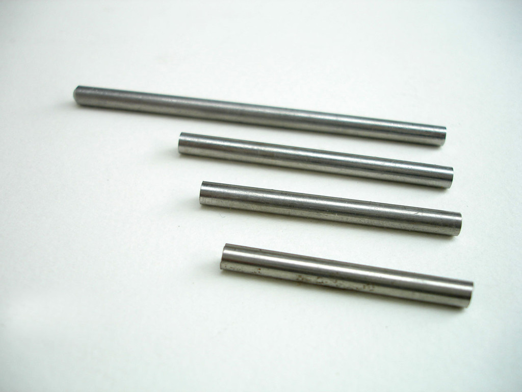 Stainless steel rod 4mm diameter  from back - piston @ 75mm, arm @ 50mm, needle shaft @ 50mm and arm retainer @ 38mm.