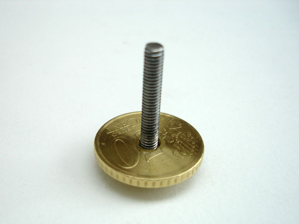 Drill coin with 4mm bit and glue to M4 x 25mm stainless steel cap screw. The coin represents me adding my 50 cents worth!