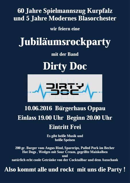 Jubiläumsrockparty mit dirty doc Musikfestival 60 und 5 Spielmannszug Kurpfalz Modernes Blasorchester MBO