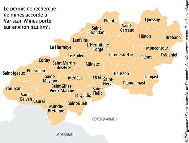 Liste des communes concernées par le projet minier