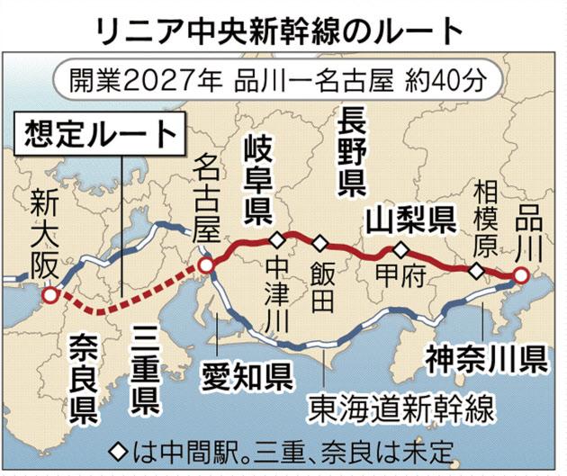 リニア新幹線ルート