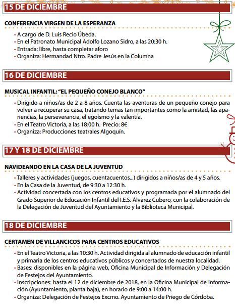 Programa de la Navidad en el riego de Córdoba