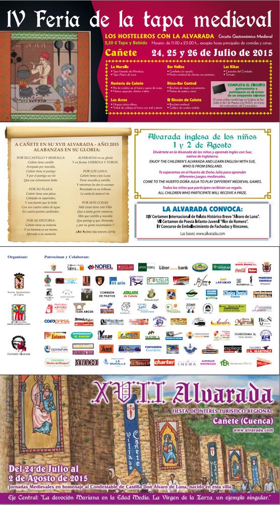 Programa de la Fiesta Medieval La Alvarada en Cañete