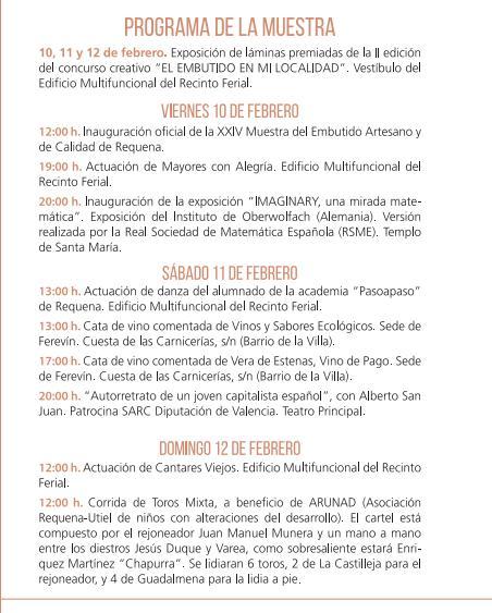 Programa de la Muestra del Embutido Artesano en Requena