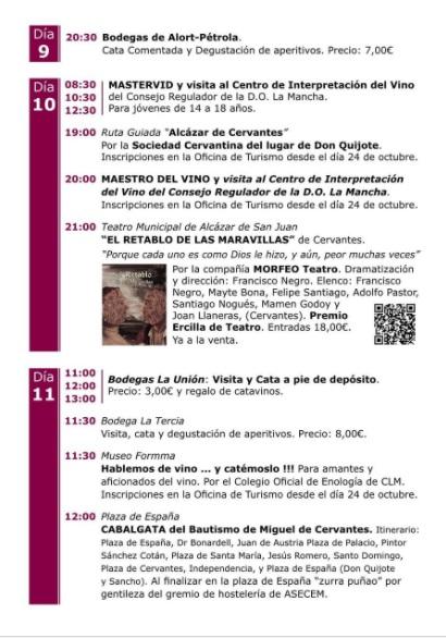 Programa de las Jornadas de Vino y Bautismo en Alcazar de San Juan