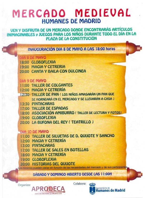 Programa del Mercado Medieval en Humanes de Madrid