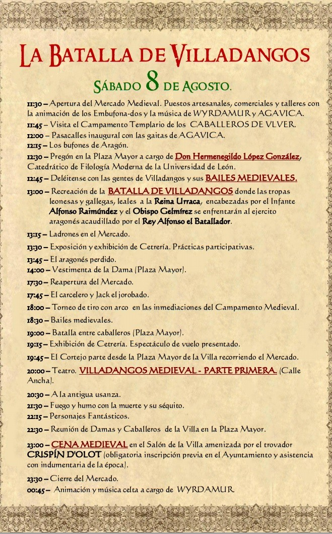 Programa del Mercado Medieval en Villadangos del Páramo