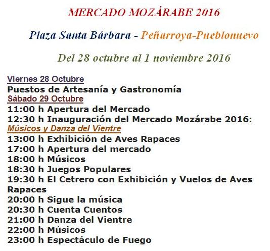 Programa del Mercado Mozárabe de Peñarroya-Pueblonuevo