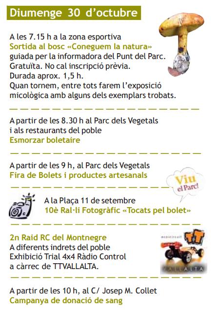 Festa del Bolet en Sant Iscle de Vallalta Programa