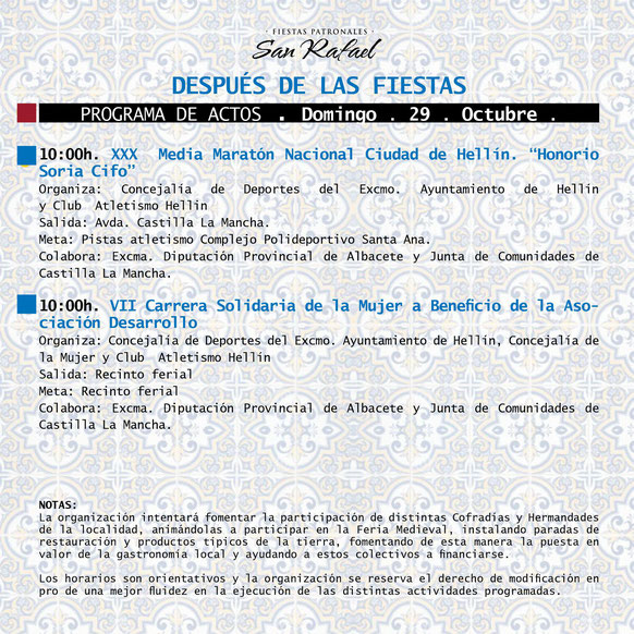 Programa de las Fiestas de San Rafael en Hellín