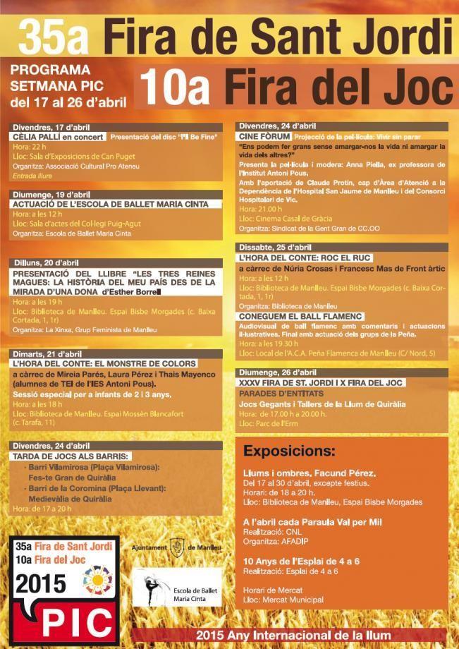Programa de la Fira de Sant Jordi en Manlleu