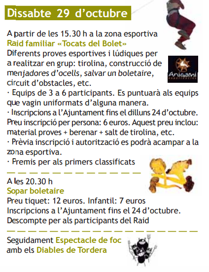 Programa de la Festa del Bolet en Sant Iscle de Vallalta