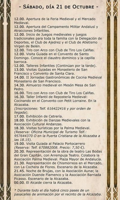 Programa de la feria medieval de Palma del Río