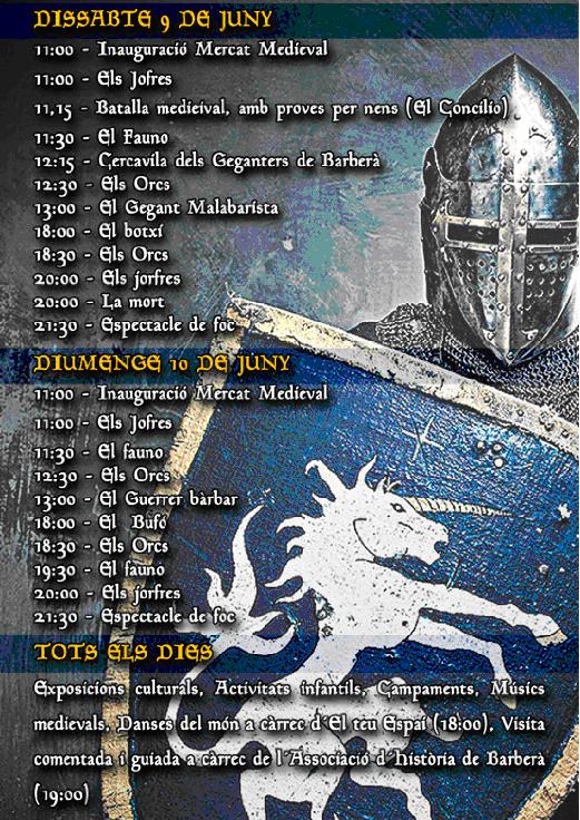 Programa del Mercat Medieval en Barberá del Vallés