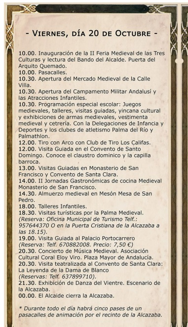 Programa de la feria medieval en Palma del Río