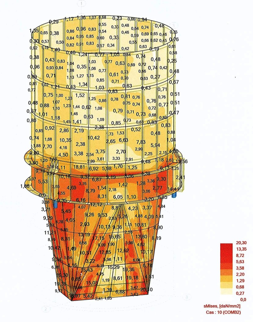 Calculation of a dairy silo 430 tons - FRANCE