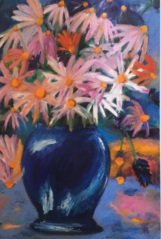 Blumen in blauer Vase (80x100cm), Öl auf Leinwand
