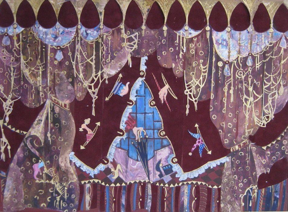 О.Попова Первый (отклонённый заказчиком) эскиз занавеса основной сцены для Белгородского государственного театра кукол 2008