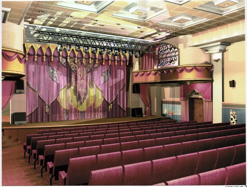 О.Попова Проект занавеса основной сцены для Белгородского государственного театра кукол в интерьере (архитектор И.Чечель)2008