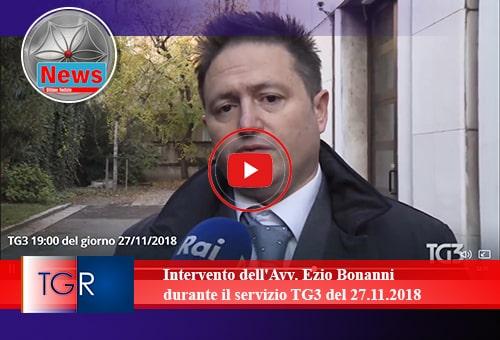 Intervento Avv Ezio Bonanni TG3 del 27.11.2018