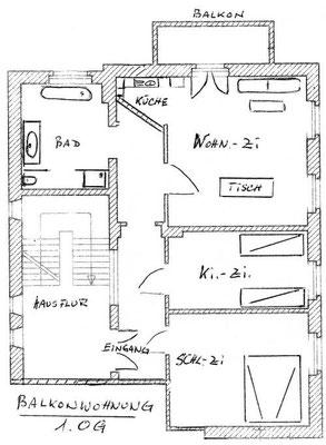 Zeichnung des Grundrisses der Ferienwohnung.