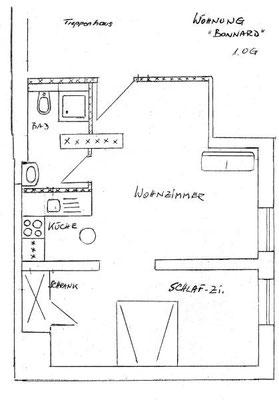 Grundriss der Ferienwohnung Madame Bonnard