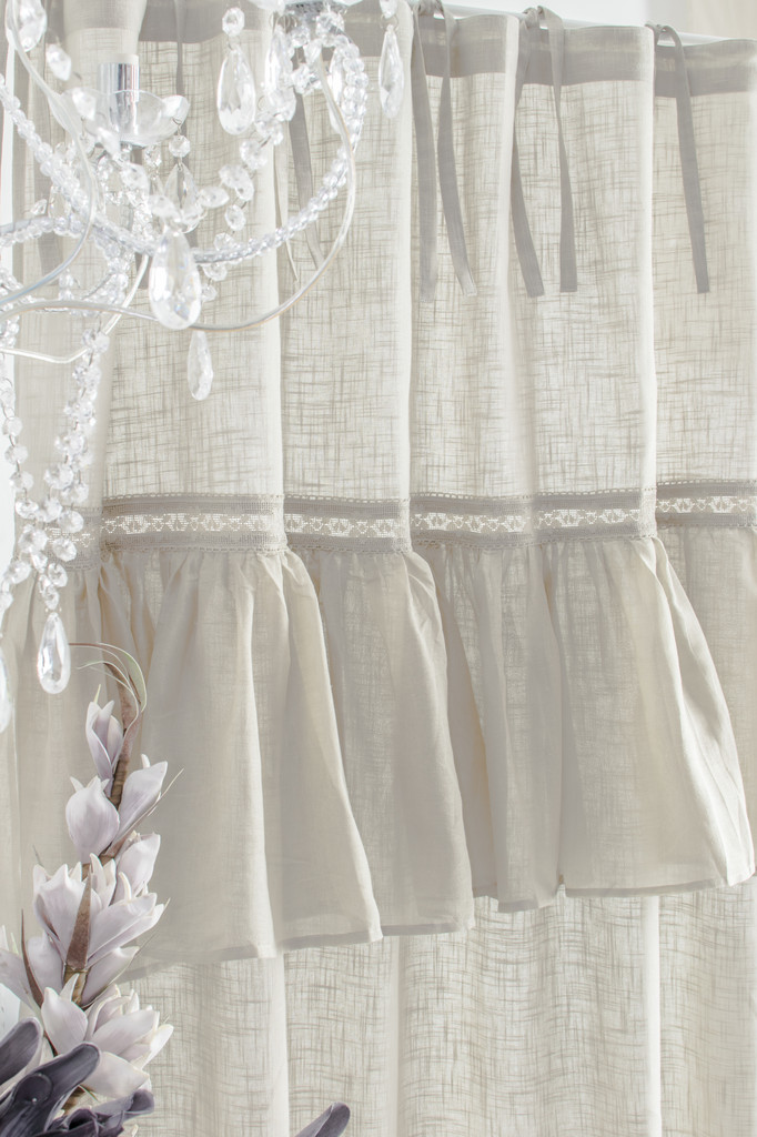 sofia cappuccino vorhang gardine 145x250cm volant spitze. Black Bedroom Furniture Sets. Home Design Ideas