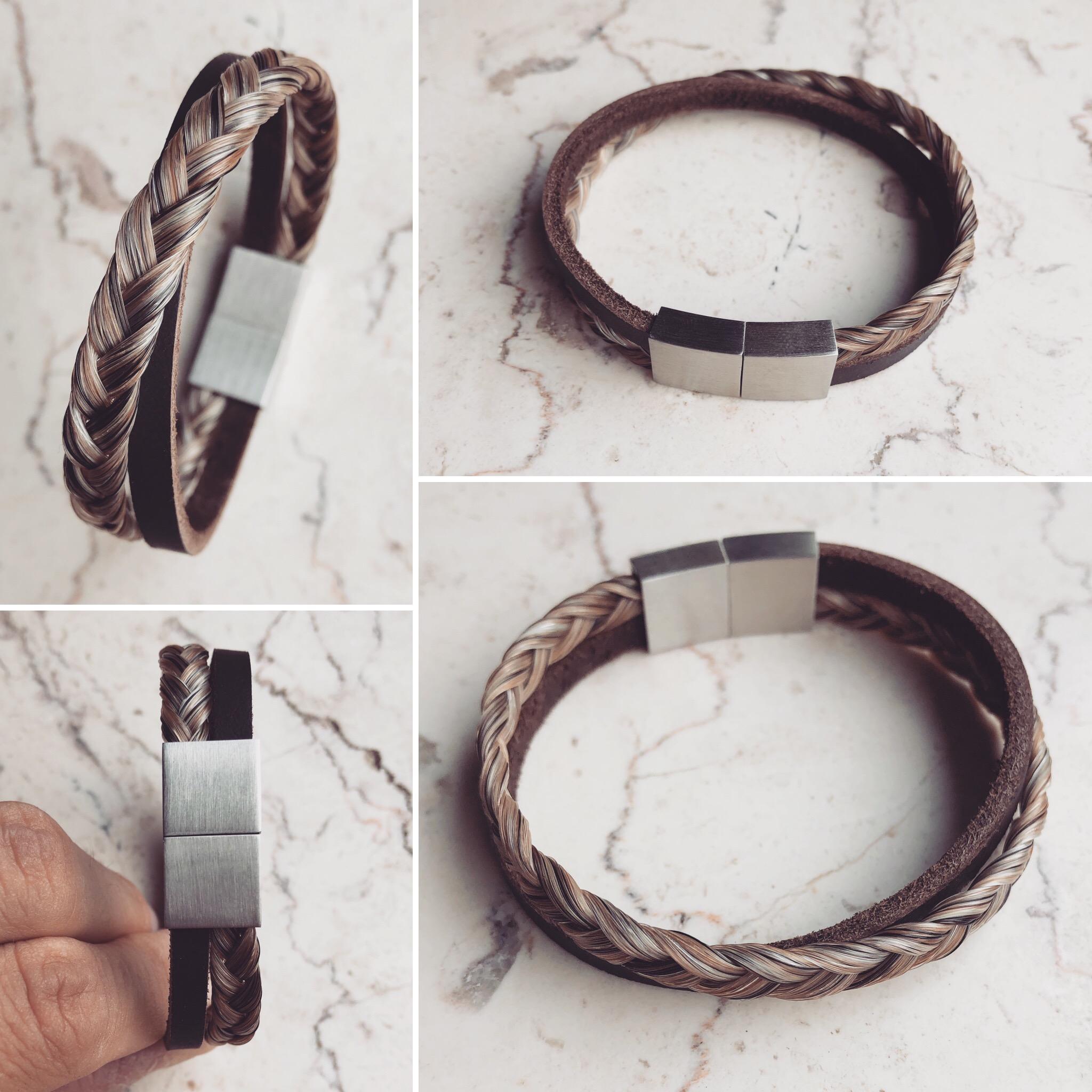 Doppelarmband, 3-fach geflochten mit flachen dunkelbraunen Lederband und Edelstahl Magnetverschluss in matt-Optik